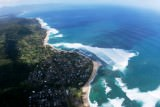 helicopter overview of Sunset Beach on the north shore,