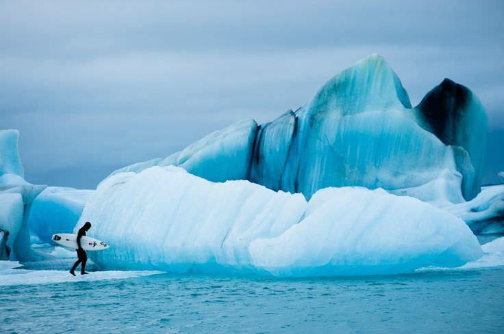 Серфинг в холодной воде